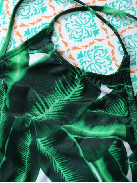 new Women Leaves Print Bikini Set - GREEN L Mobile