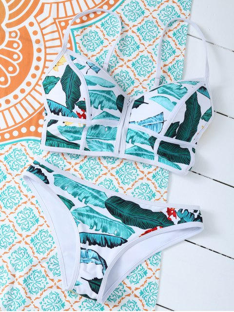 affordable Zippered Tropical Bikini - FLORAL XL Mobile
