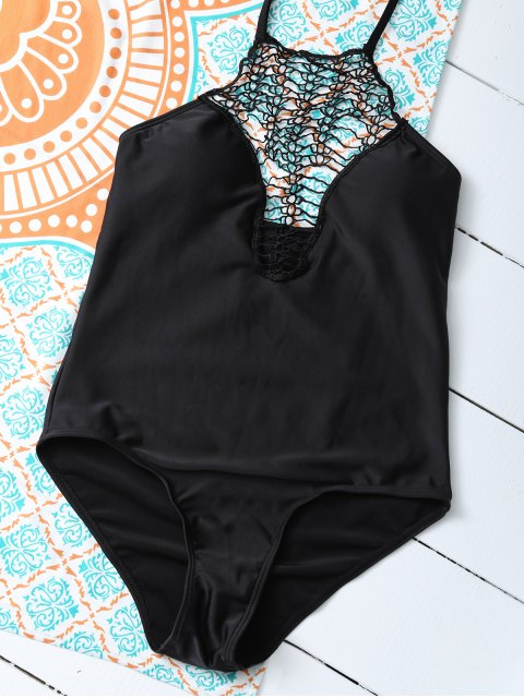 affordable Cut Out One-Piece Swimwear - BLACK M Mobile