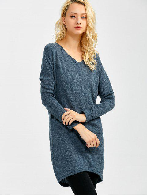 womens V Neck Batwing Sleeve Sweater - BLUE GRAY L Mobile