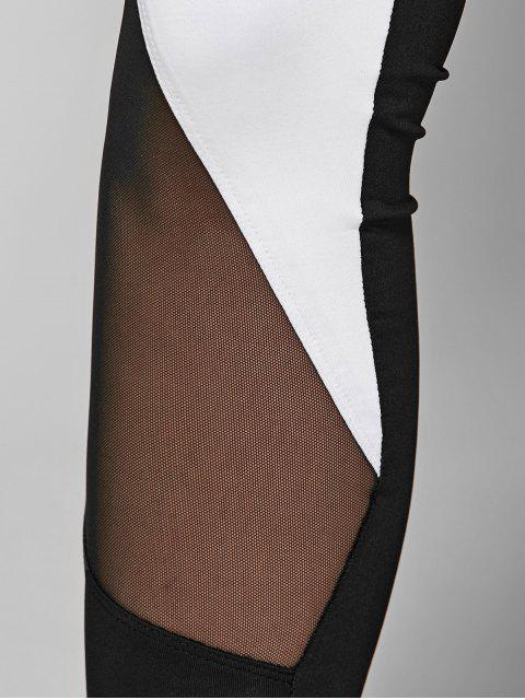 ladies Geometric Print Bra and Mesh Leggings - WHITE AND BLACK L Mobile