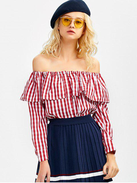 trendy Gingham Check Off The Shoulder Blouse - RED L Mobile