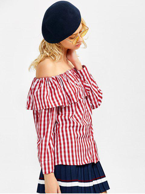 fashion Gingham Check Off The Shoulder Blouse - RED M Mobile