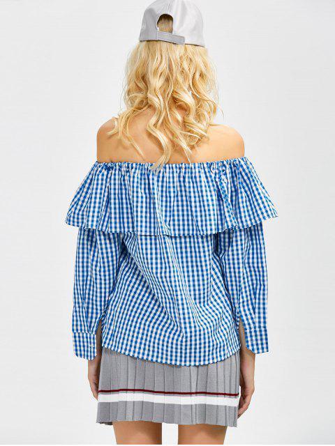 women Gingham Check Off The Shoulder Blouse - BLUE M Mobile