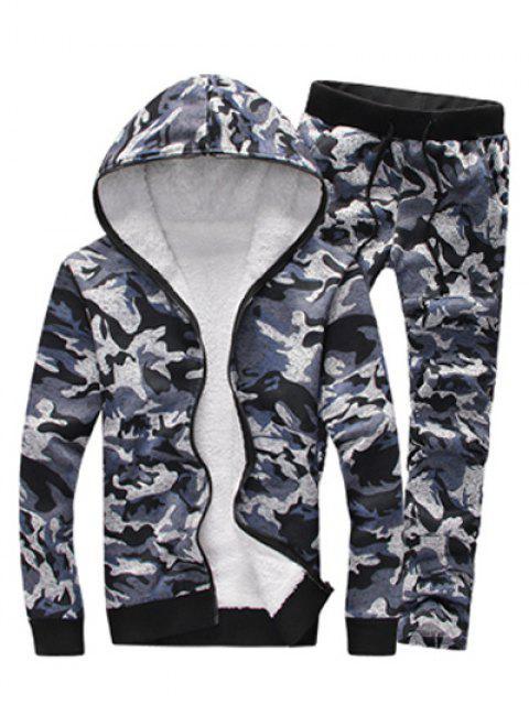 Camouflage Zip Up Beflockung Hoodie und Hosen Twinset - Grau 2XL Mobile