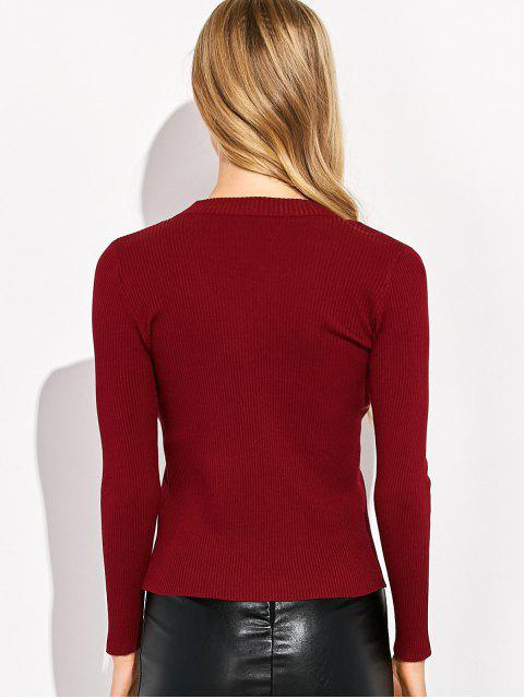 latest Choker Ribbed Knitwear - WINE RED XL Mobile