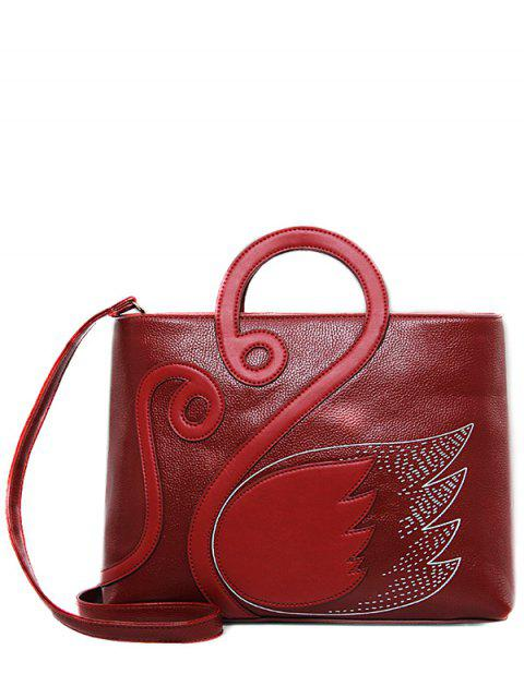 women's Wing Pattern Textured Leather Stitching Tote Bag -   Mobile