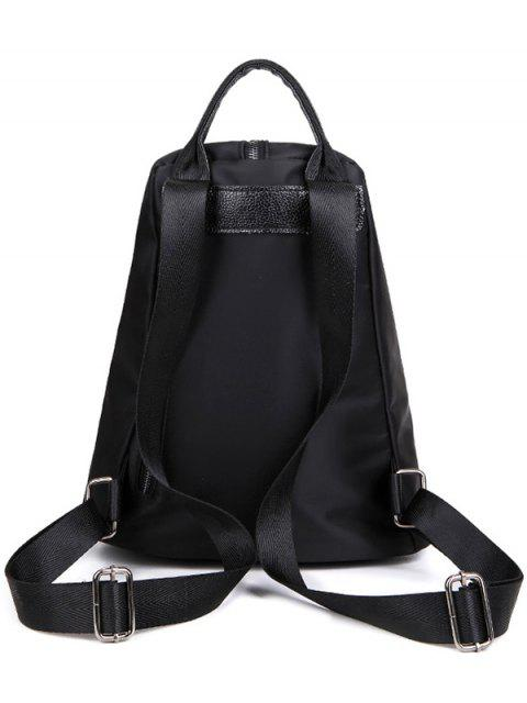 lady Embroidery Zipper Nylon Backpack - BLACK  Mobile