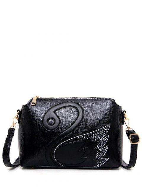 best Textured Leather Stitching Wing Pattern Crossbody Bag - BLACK  Mobile