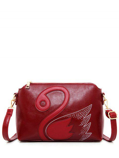 online Textured Leather Stitching Wing Pattern Crossbody Bag -   Mobile