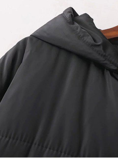 affordable Hooded Padded Winter Coat - BLACK ONE SIZE Mobile