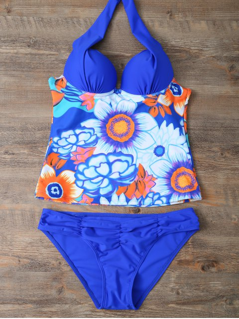 ladies Ethnic Floral Underwire Tankini Swimsuit - BLUE M Mobile