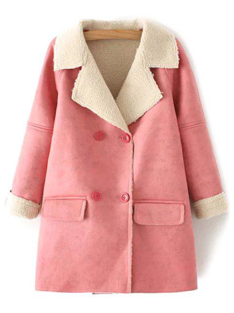 online Suede Faux Shearling Peacoat - PINK M Mobile