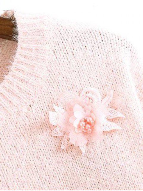 ladies Floral Applique Fluffy Sweater - PINK ONE SIZE Mobile