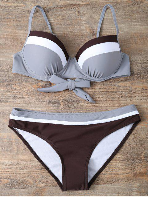 trendy Color Block Bowknot Bikini Set - GRAY S Mobile