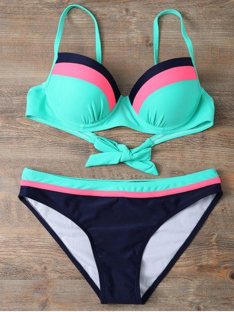 chic Color Block Bowknot Bikini Set - GREEN M Mobile