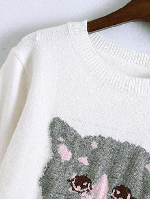 online Kitten Jacquard Frilled Sweater - WHITE ONE SIZE Mobile