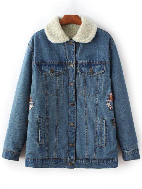 latest Lamb Wool Embroidered Denim Coat - BLUE M Mobile