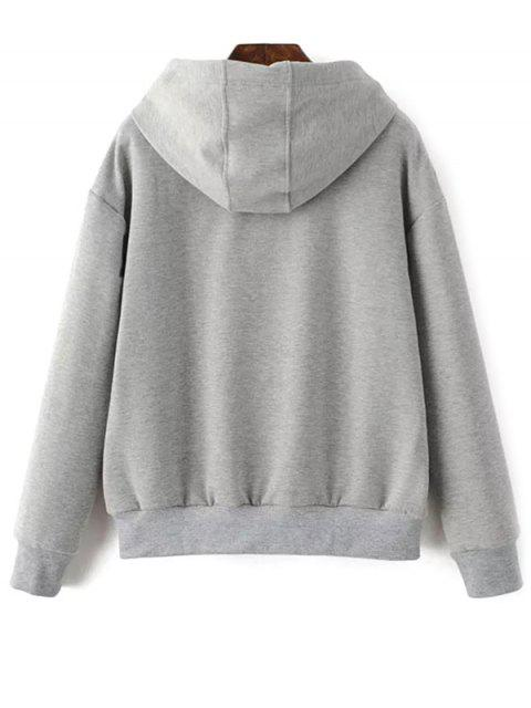 womens Drawstring Flower Embroidered Hoodie - GRAY L Mobile