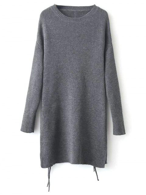 outfit Longline Side Slit Sweater - GRAY ONE SIZE Mobile