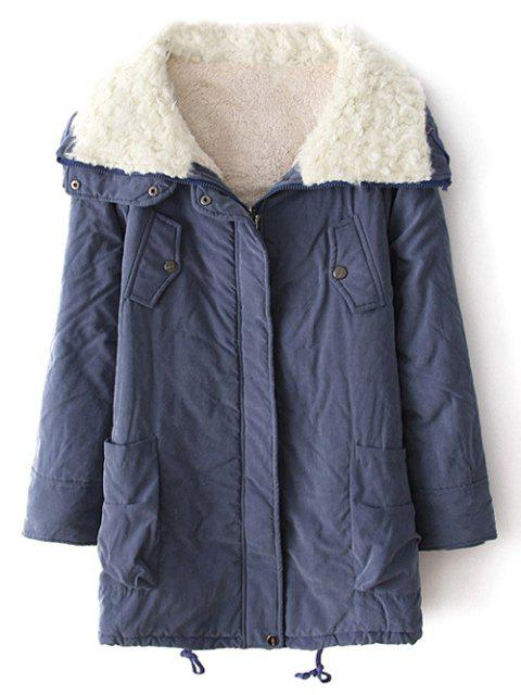 buy Zip-Up Lamb Wool Coat - BLUE S Mobile