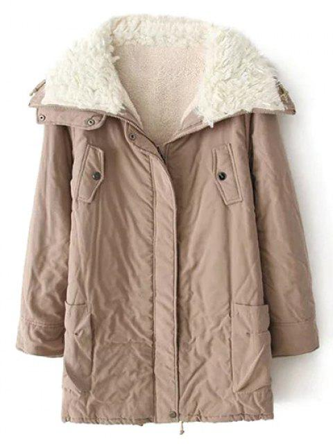 women Zip-Up Lamb Wool Coat - KHAKI L Mobile