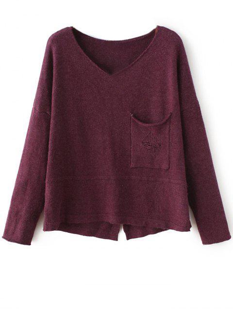 trendy Slit V Neck Sweater - PURPLISH RED ONE SIZE Mobile