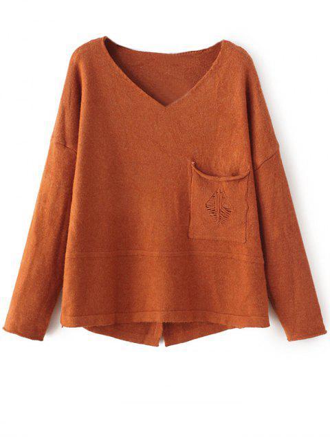 fashion Slit V Neck Sweater - GINGER ONE SIZE Mobile