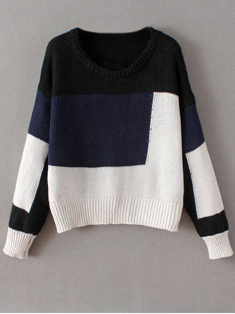 fancy Crew Neck Color Block Chunky Sweater - BLUE ONE SIZE Mobile