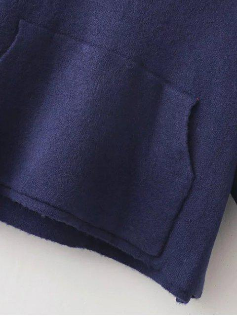 outfit Patched Front Pocket Hooded Sweater - PURPLISH BLUE ONE SIZE Mobile