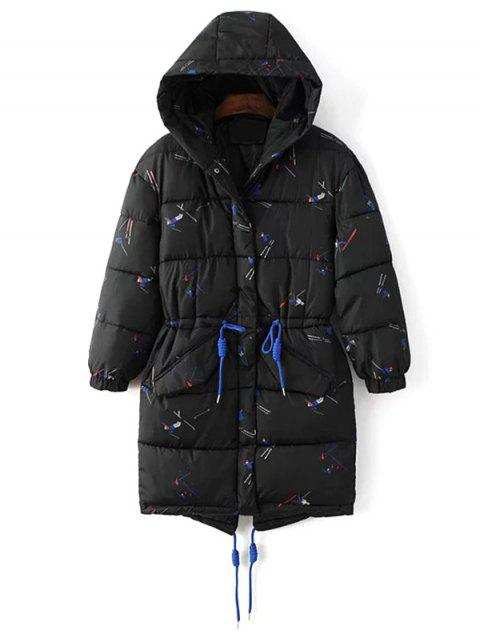 unique Drawstring Cartoon Print Padded Coat - BLACK XL Mobile
