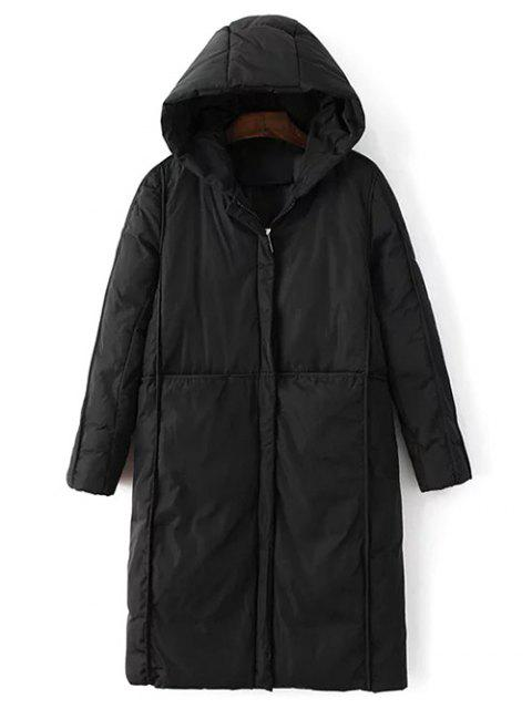 ladies Hooded Puffer Coat with Pocket - BLACK XL Mobile