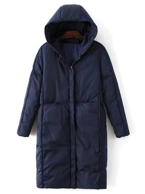 new Hooded Puffer Coat with Pocket - PURPLISH BLUE L Mobile