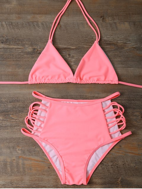 women High Waist Cutout Bikini Set - PINK S Mobile