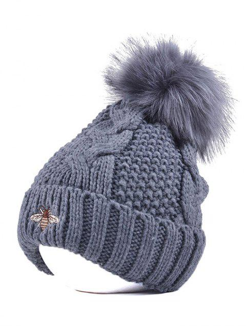 hot Pom Ball Flanging Bee Knitted Beanie -   Mobile