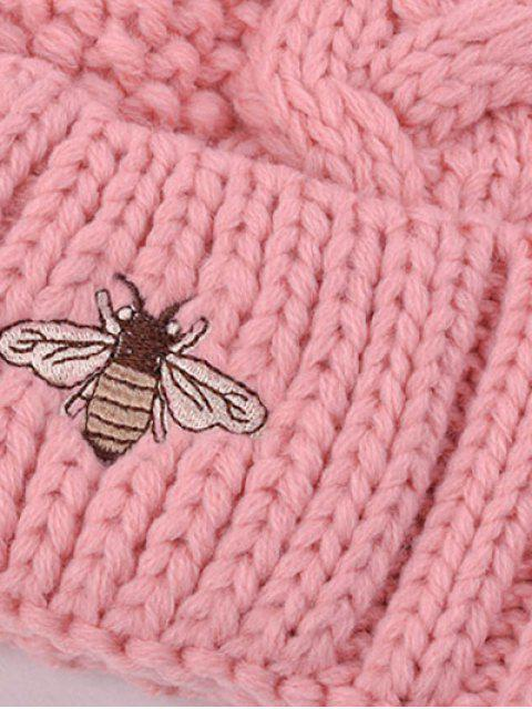 shops Pom Ball Flanging Bee Knitted Beanie -   Mobile
