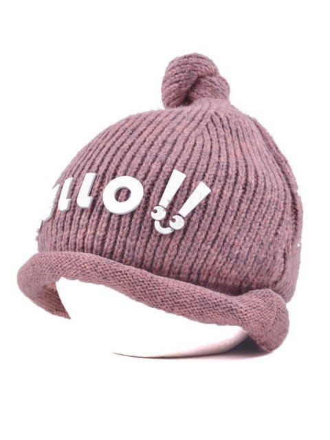 fashion Hello Embellished Chunky Knitted Hat - PINK  Mobile
