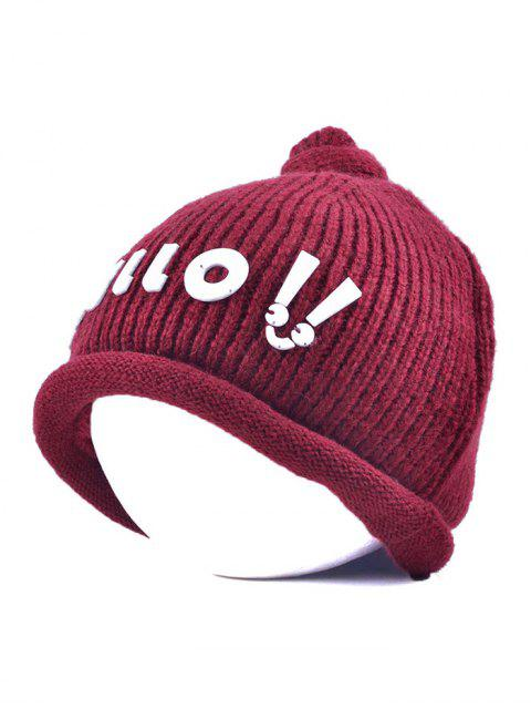 chic Hello Embellished Chunky Knitted Hat - WINE RED  Mobile