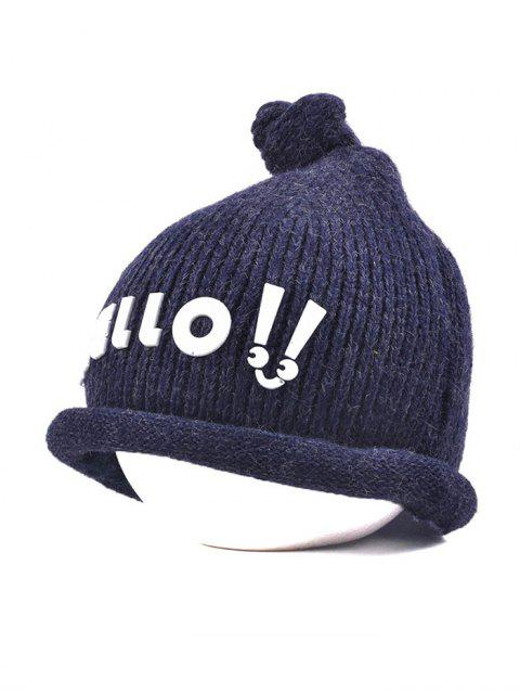fancy Hello Embellished Chunky Knitted Hat - CADETBLUE  Mobile