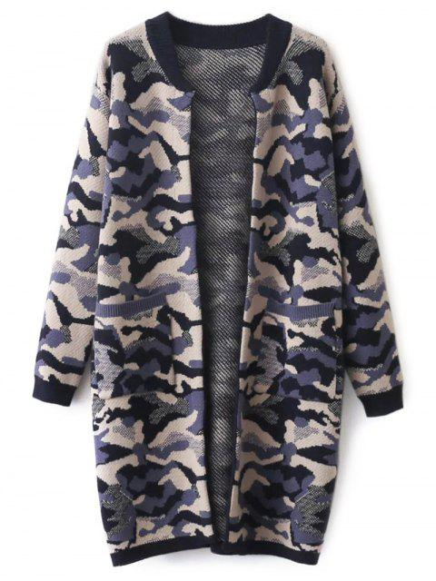 outfits Camoflage Longline Cardigan - PURPLE ONE SIZE Mobile