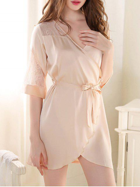 fashion Sleep Lace Spliced Wrap Robe - CHAMPAGNE ONE SIZE Mobile