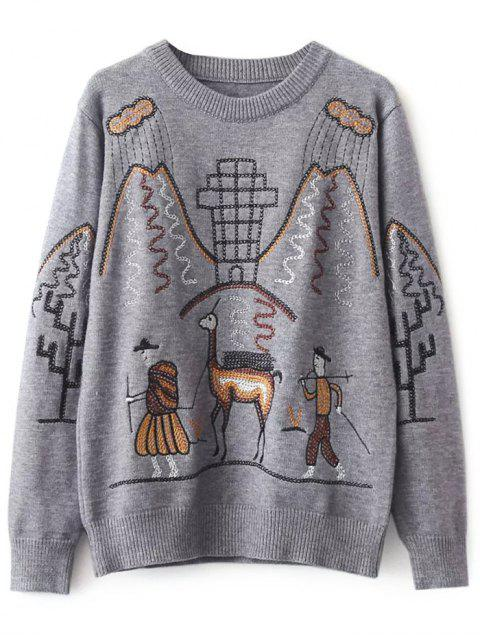 outfits Crew Neck Embroidered Sweater - GRAY ONE SIZE Mobile