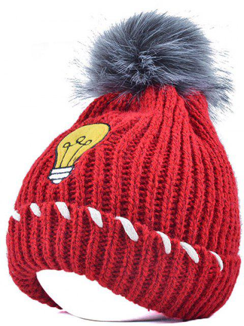 womens Pom Ball Flanging Knitted Hat - BRIGHT RED  Mobile