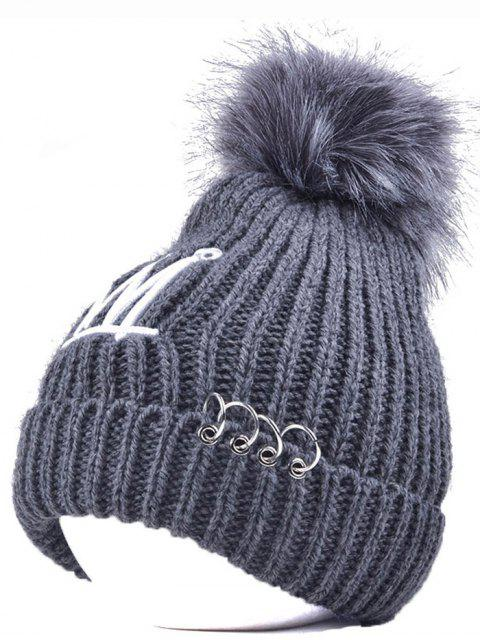 women's Crown Pom Ball Circle Hoop Embellished Hat - GRAY  Mobile