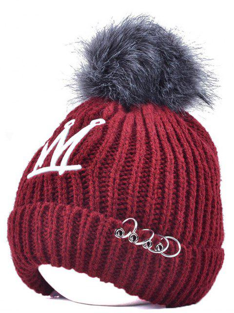 online Crown Pom Ball Circle Hoop Embellished Hat - WINE RED  Mobile