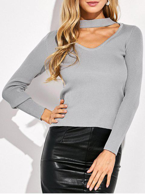 unique Choker Ribbed Knitwear - GRAY L Mobile