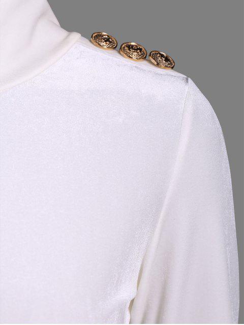 Justaucorps en velours à col roulé ajusté - Blanc L Mobile