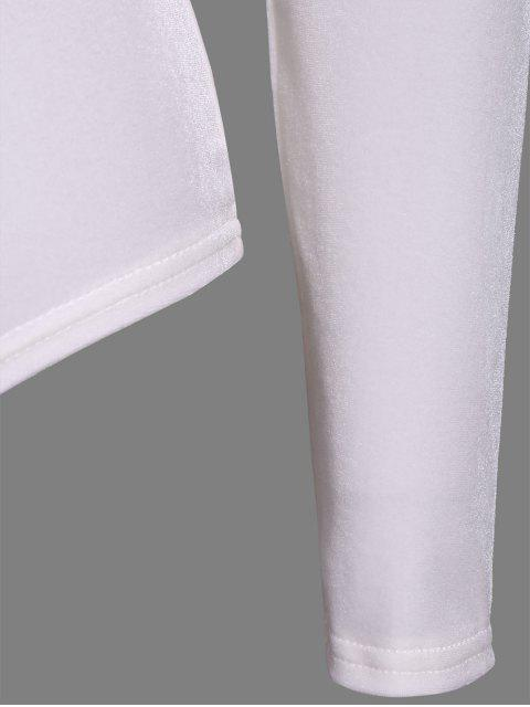 online Turtle Neck Velvet Bodysuit - WHITE L Mobile
