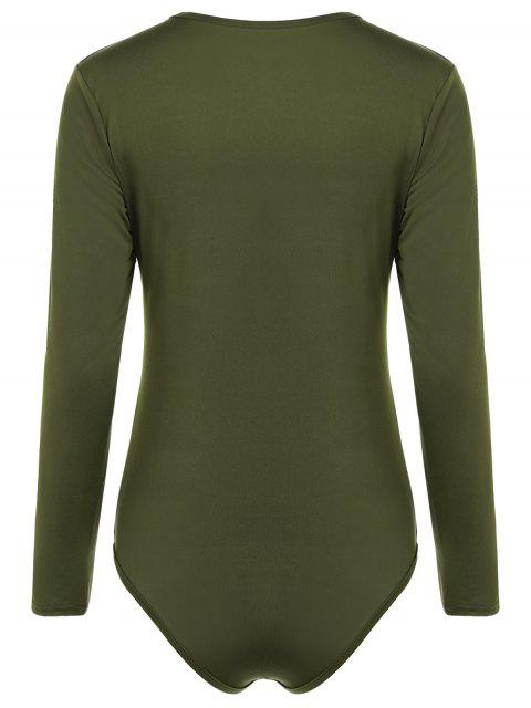 sale Cut Out Lace-Up Bodysuit - ARMY GREEN M Mobile