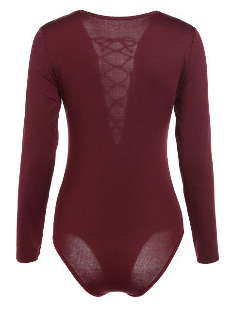 buy Cut Out Lace-Up Bodysuit - WINE RED XL Mobile